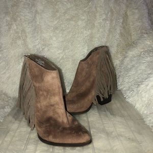 Light brown fringe booties!